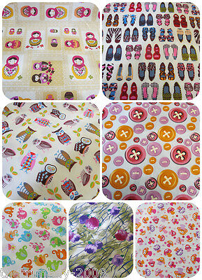 Strawberry Shoes Elephants Floral Owls Russian Doll Cotton Fabric
