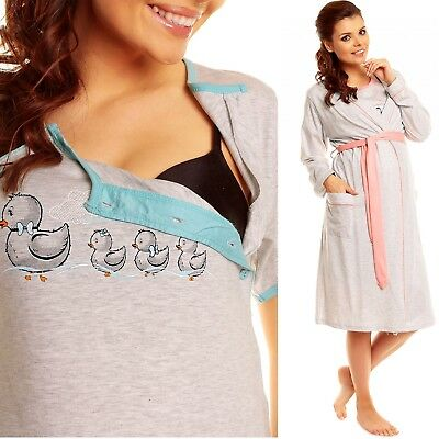Zeta Ville Women's Maternity Breastfeeding Nightie Robe Dressing Gown Set - 385c