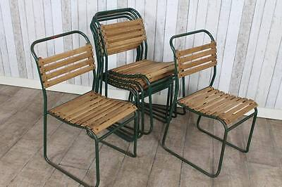 Industrial Slatted Stacking Chairs Large Quantity Available
