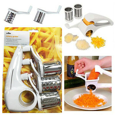 Rotary Grater Rotating White Cheese Vegetables Chocolate Fine Grating 3 Drums