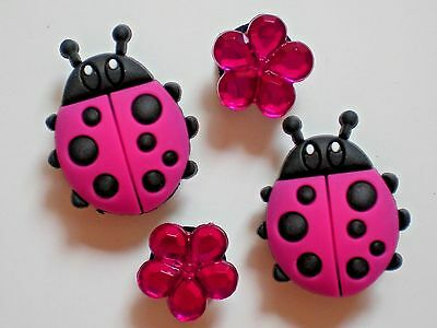 Clog Shoe Plug Button Charm Button Holey Accessories Fit WristBand Lady Bug