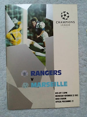 1992 - RANGERS v MARSEILLE PROGRAMME - Champions League - Great Condition