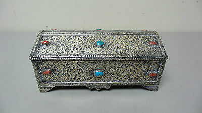 Unusual Antique Persian Silver Cased Box Turquoise & Carnelian Stone Decoration