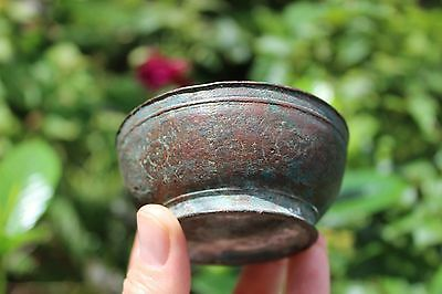 Islamic antique bronze bowl, Middle Ages, genuine patina