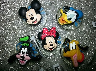 Disney Jibbitz Minnie Mickey Donald Goofey Pluto 5 Charm Lot For Croc Shoes Auth