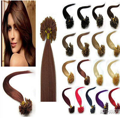 100% Indian Remy Human Hair Extensions Straight Pre Bonded Nail U Tip Hair 100S