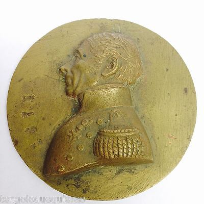 Antique bronze half relief medallion of French military 80mm