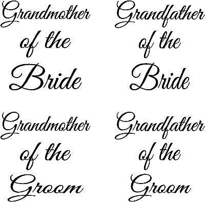 Grandmother - Grandfather Wedding  - Wine Glass-  Decals - Stickers Personal