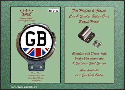 Royale Classic Car Badge & Bar Clip GB PLATE WITH UNION JACK B1.0462