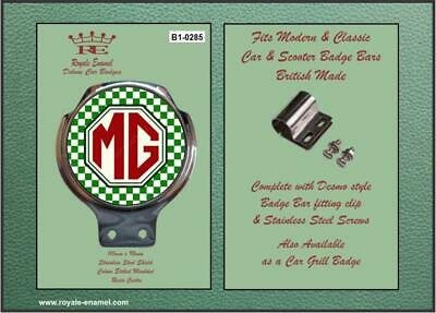 Royale Classic Car Badge & Bar Clip MG SPORTS GREEN WHITE CHECKS B1.0285