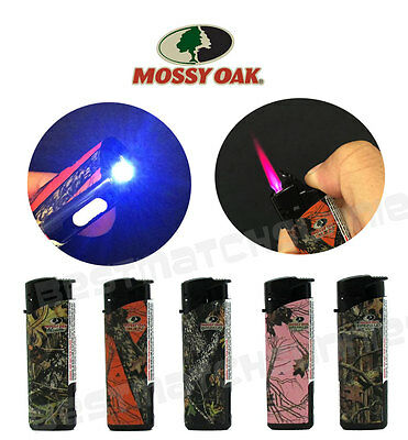 5 Pack Mossy Oak Jet Flame Butane Torch Lighter Refillable Windproof White LED