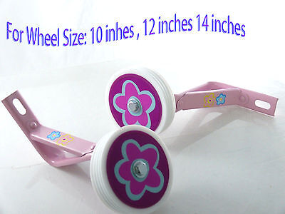 "Kids girl Bicycle Heavy Duty Training Wheels for  14""  Bike Children pink"