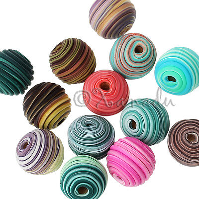 Polymer Clay 14mm Wholesale Random Color Spiral Beads B7427 - 10, 20 Or 50PCs