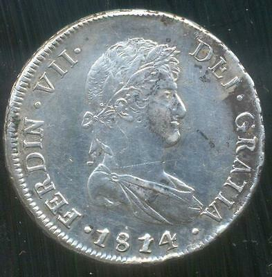 Santiago Mint Chile Spain Silver Dollar Coin 8 Eight Reales 1814 F.j. See Pics