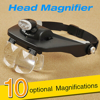 10 Power Magnifier Optivisor magnifying glass loupes jewelry Watch Repair 3 lamp