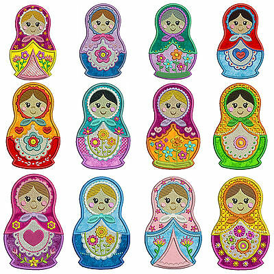RUSSIAN DOLLS * Machine Applique Embroidery Patterns * 12 Designs in 3 sizes