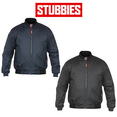 Mens Stubbies Industrial Quilted Flying Pilot  Bomber Jacket Lined Warm BJ3000