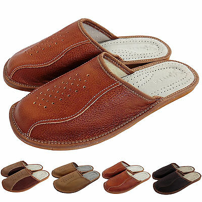 Mens Leather Slippers Shoes Mules, Hand Made Brown  Size 7 8 9 10 11 12, NB509