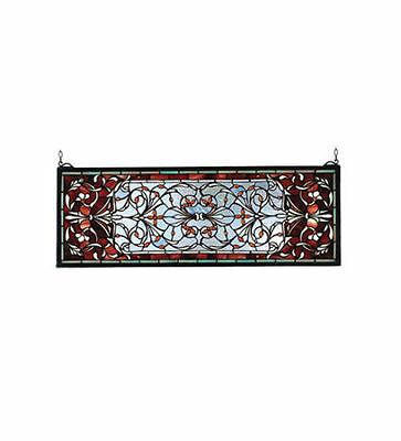 "Meyda Tiffany Stained Glass Window Panel Versaille TRANSOM 28""Wx10""H 98059 NEW"