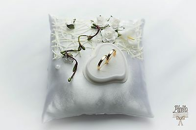 wedding ring pillow, cushion, engagement ring holder ,  roses with calla P1
