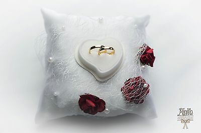 wedding ring pillow, cushion, engagement ring holder , red roses and lace P11