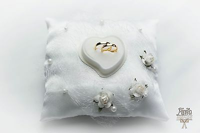wedding ring pillow, cushion, engagement ring holder , white roses and lace P9
