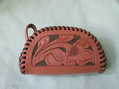 New Vintage Tooled Whipstiched Leather Floral Flower Mexico Wallet Coin Purse