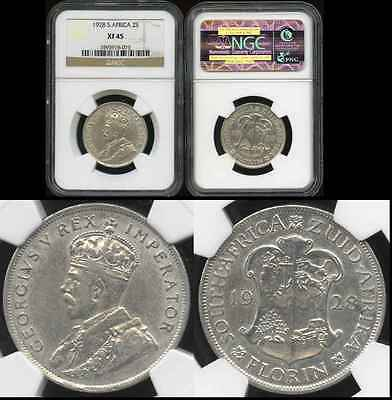 SOUTH AFRICA 1928 Silver Florin NGC XF45 ***