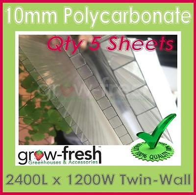 GREENHOUSE 10mm Polycarbonate panels roofing sheets twin wall-2400x1200mm QTY5
