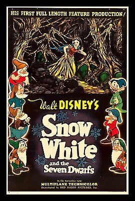 SNOW WHITE AND THE SEVEN 7 DWARFS ✯ CineMasterpieces 1937 MOVIE POSTER DISNEY