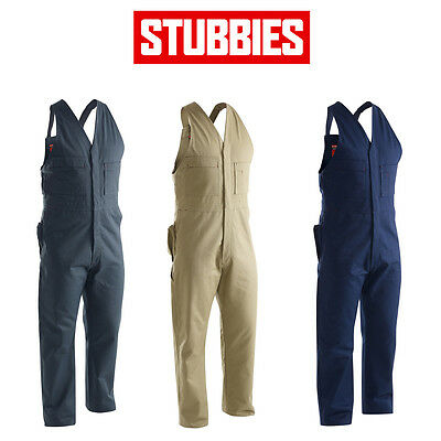 Mens Stubbies Drill Action Back Overall Sleeveless Workwear Cotton Safety BO1513