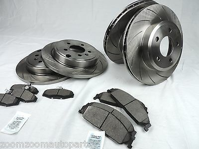 Slotted Pair Front & Rear Disc Brake Rotors & Ceramic Pads Commodore Vt Vx Vy Vz
