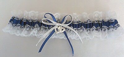 Wedding Garter  - S, M, L - White/navy  Blue/white/lace - Made In Australia