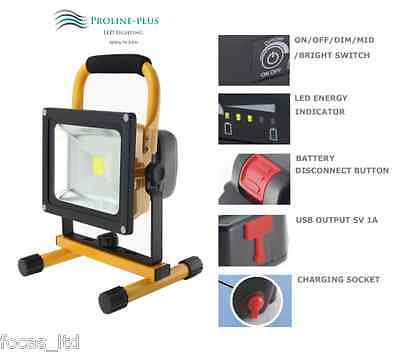 20W Led Floodlight With Detachable Battery, Dimmable, Usb Phone Charging Socket
