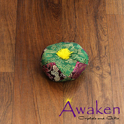 PURPLE/GREEN Round 'Pin Cushion' style for Tibetan Singing Bowl 10cm x 4.5cm