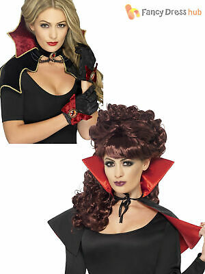 Ladies Vampire Mini Cape Collar Halloween Fancy Dress Costume Accessory Womens