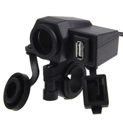 Waterproof Motorbike Handlebar Cigarette Lighter Socket & USB Power Supply 12v