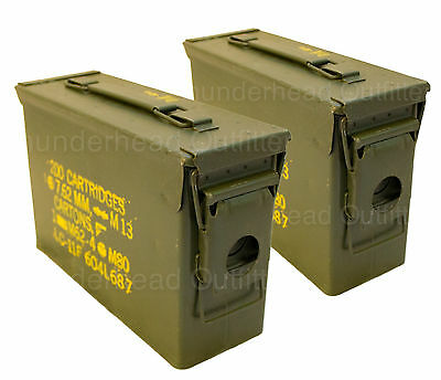 QTY 2 - Military Surplus 30 Cal M19A1 Ammo Can 7.62mm .30 Caliber USGI Surplus