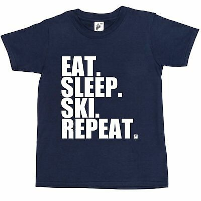 Eat. Sleep. Ski. Repeat. Snow Mountains  Kids Boys / Girls T-Shirt