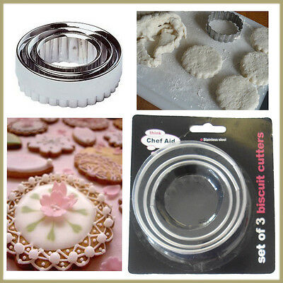 3* Biscuits Cookies Cutter Stainless Pastry Fondant Mould Baking CHEF AID