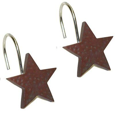 Park Designs Star Shower Curtain Hooks Red 12 Pack Country Rustic Vintage Decor