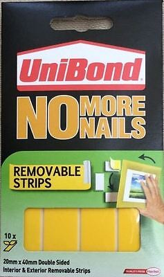 Unibond No More Nails - Removable Double Sided Strips 2kg/Tape 20mm x40mm 1341