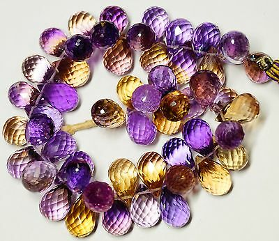 360cts;8''8@14-9@13MM NATURAL GEM MICRO FACETED AMETRINE TEAR DROP BEADS STRAND