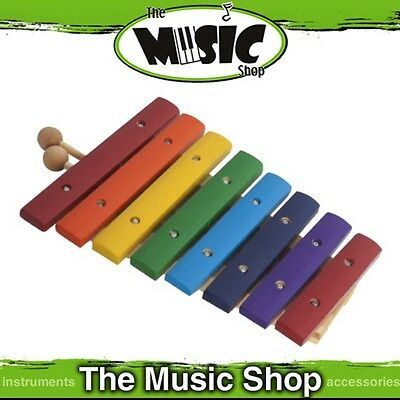 New Mano Percussion 8 Note Colourful Wooden Xylophone with Mallets - UE806