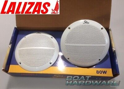 """2 x Boat White Audio Speaker 5-1/4"""" Round Water & Corrosion Proof 80W  2 WAY"""
