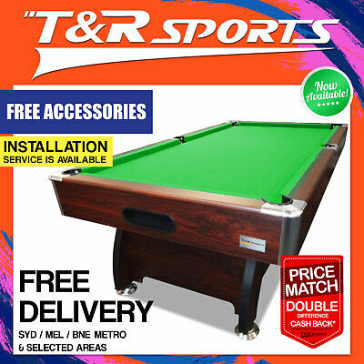 7Ft Walnut Mdf Timber Green Pool Snooker Billiard Teble With Full Accessory