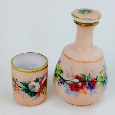 Genuine Antique Opaline Glass Perfume BOTTLE Hand Painted with Cup 1800's