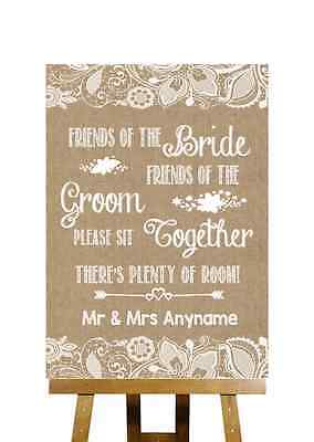 Burlap & Lace Effect No Seating Plan Sit Together Personalised Wedding Sign