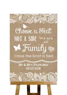 Burlap & Lace Effect No Seating Plan Choose A Seat Personalised Wedding Sign