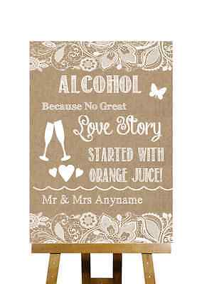 Burlap & Lace Effect Alcohol Bar Love Story Personalised Wedding Sign